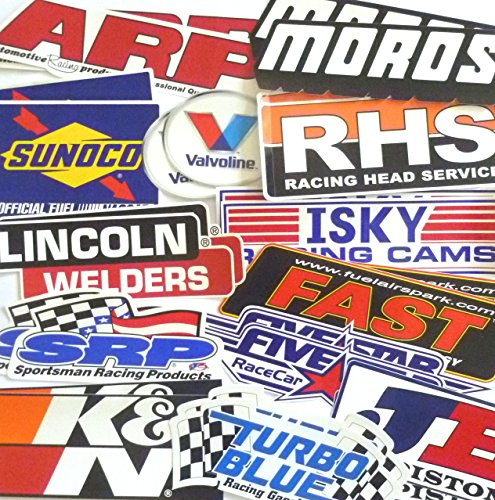 Racing Decal Sticker 26 Piece Assortment Pack in Pairs Fender Contingency Size By Crash Daddy (Box Car Racer Sticker)