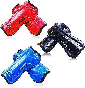 LEMIKAI Soccer ShinGuardsforKids,3PairsPerforated BreathableandLightweightSoccerEquipment for4-12YearsOldBoys,Girls,YouthChild,Teenagers