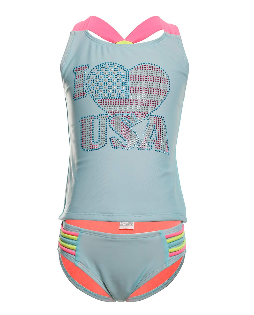 iDrawl Girls Swimsuit Two Pieces Swimsuit Bikini Bathing Suits, Tankini Set Beach Sport Swimwear