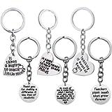 Gzingen 6pcs Teacher Appreciation Gifts Heart Circle Pendant Teacher Keychain Set Thank You Gifts for Teachers Jewelry…