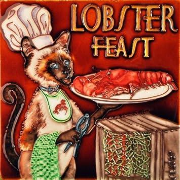Lobster Feast Chef Cat – Decorative Ceramic Art Tile – 8 x8 En Vogue