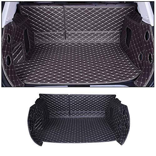 Ford Escort Cargo - Custom For Ford Trunk Mat Floor Mat For Escort 2015-2019 Full Coverage All Weather Trunk Protection Waterproof Cargo Mat Non-Slip Leather Liner Set Black -beige line