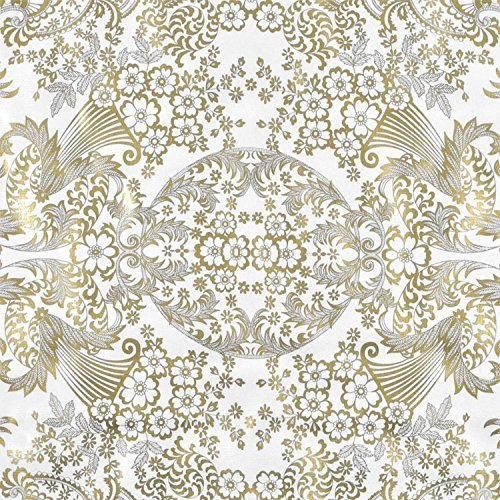 Gold/White Paradise Lace Oilcloth Fabric - By the Yard