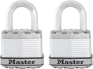 MASTER LOCK Heavy Duty Padlock [Key] [Laminated Steel] [Weatherproof] [Pack of 2] M1EURT - Best Used for Storage Units, Sheds, Garages, Fences