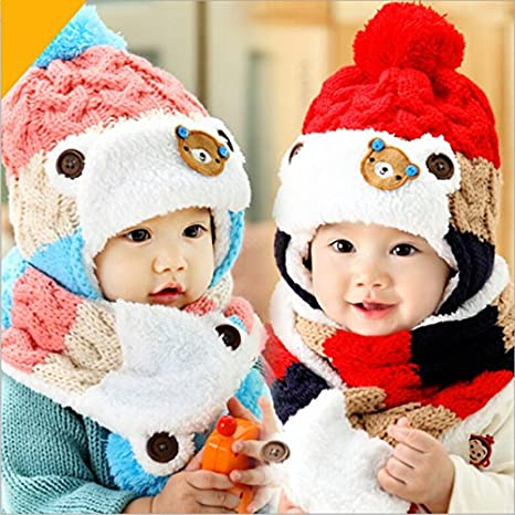 489c274f04a0 Buy Generic purple   2017 baby cute bear design winter hat and scarf set  infant knit beanie bomber hats ear flaps red crochet snow cap for girls boys  Online ...
