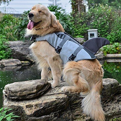 Dovewill Chaleco Salvavidas de Animal Doméstico Ropa de Seguridad de Agua Ahorrador de Vda de Perro 3 Tallas - Gris, L