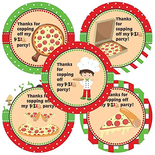 Pizza Boy Thank You Sticker Labels - Kids Children Birthday Party Favors Supplies - Set of 30