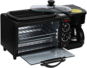 Breakfast Station, 3 in 1 Breakfast Machine, 1050W Multifunctional Oven with 4-Cup Coffee Maker and Griddle, Toaster Oven Coffee Maker Non-Stick Grill for Breakfast Afternoon Tea Supper(Black)