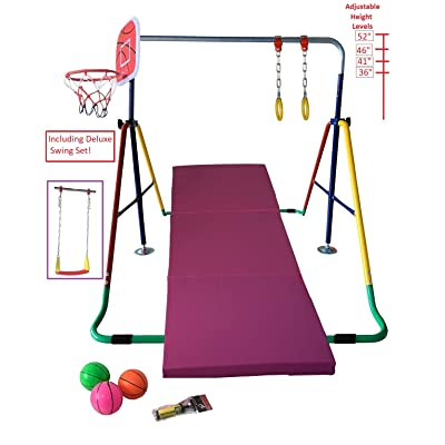 Kids Jungle Gym 4 in 1 Horizontal Bar w 2x6 FT Tumble Mat Monkey Bar Playground Horizontal Gymnastics Bar, Deluxe Swing Set, Trapeze Rings and Basketball Net Adjustable Foldable: Toys & Games