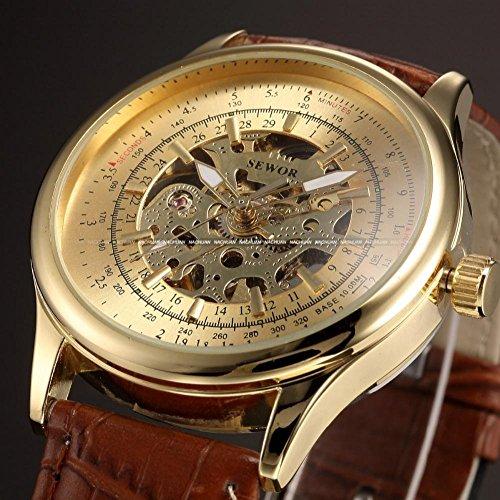 LNTGO Sewor Luxury Auto Mechanical Golden Dial Skeleton Analog Male Brown Leather Strap Men Watch Business Dress Wristwatch - Pmw348