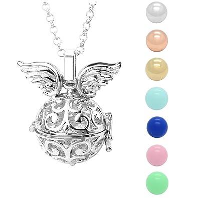 l'ultimo f3e3d 0500d Jovivi, collana con ciondolo chiama angeli con ali d'angelo per future  mamme, con 7 sonagli di diametro di 16 mm e catenina di 71 cm