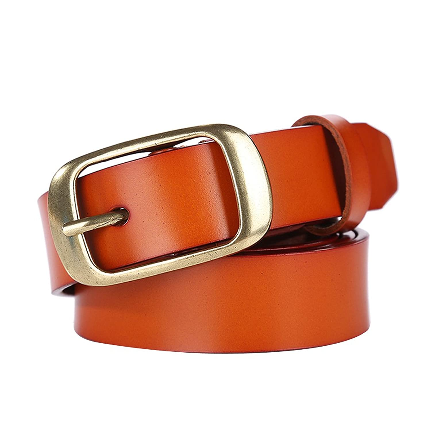 Women's Genuine Leather Belts Vintage Textured Belt with Copper Tone Alloy Pin Buckle