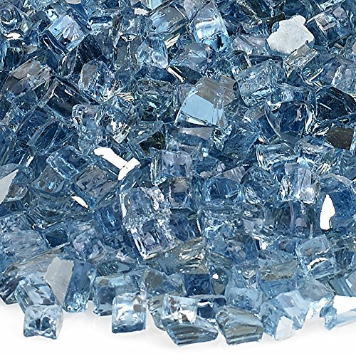 American Fireglass 10-Pound Reflective Fire Glass with Fireplace Glass and Fire Pit Glass, 1/4-Inch, Pacific Blue (Pacific Fire Glass Blue)