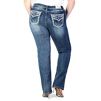 a7926c2b1fbbe Grace in LA Plus Size Mid Rise Faux Flap Pocket Embellished Straight Leg  Jeans (18