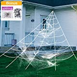 AOJOYS Halloween Giant Spider Web, Super Stretch Cobweb with 22 Small Fake Spiders, 3 in 1 Spooky Spider Webbing for Halloween Decorations Outdoor Yard Decor, White, 16 Feet