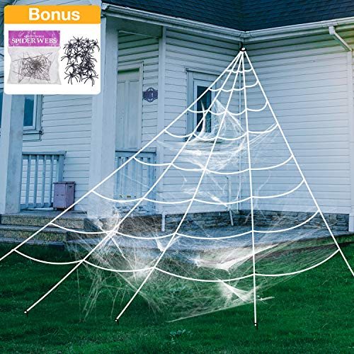 AOJOYS Halloween Giant Spider Web, Super Stretch Cobweb with 22 Small Fake Spiders, 3 in 1 Spooky Spider Webbing for Halloween Decorations Outdoor Yard Decor, White, 16 -