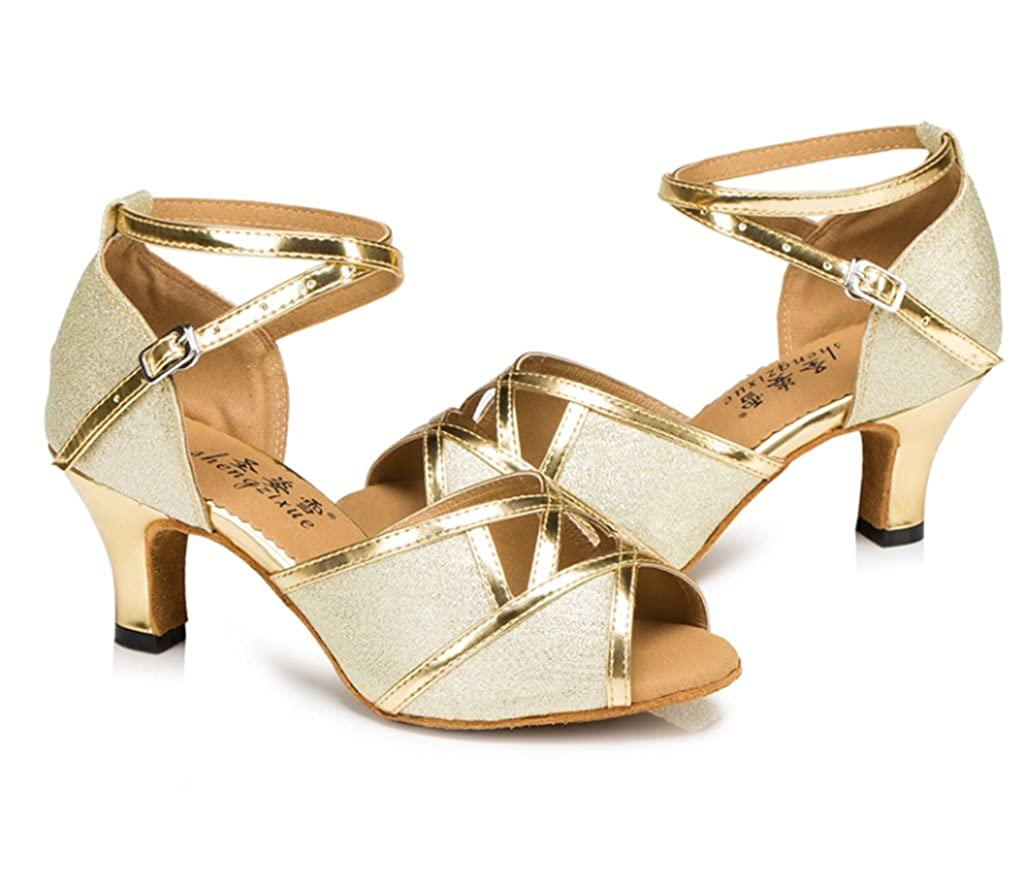 CRC Womens Stylish Peep Toe PU//Glitter Material Ballroom Morden Salsa Latin Tango Party Wedding Professional Dance Sandals