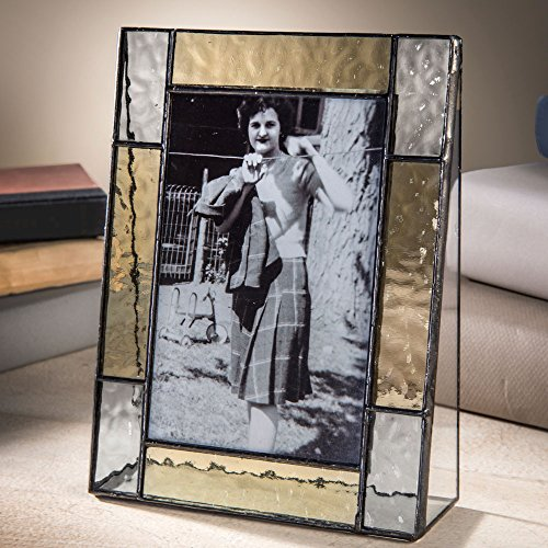 J Devlin Pic 373-46V Tabletop Stained Glass Picture Frame 4x6 Vertical Photo Keepsake Frame Grey and Pale Yellow -  J Devlin Glass Art