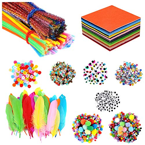 "Art and Craft Kit Supplies for Kids DIY Pipe Cleaners & Chenile Chenille Stems, 6""x6"" Felt Fabric Sheet,Pom Poms, Wiggle Googly Eyes, Feather, Buttons, Rhinestones, Sequins"