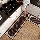 KEYAMA 2 pieces High-grade (18''Wx47''L+20''Wx71''L) Brown Grid Acrylic Non-Slip Home Kitchen Floor Comfort Mat sets Home Decorative area Rugs Hallway Room aisle decorative Runner Fashion Doormat sets.