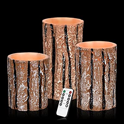 """Flameless Candles Battery Operated Candles 4"""" 5"""" 6"""" Set of 3 Bark Effect Real Wax Pillar LED Candles with 10-key Remote and Cycling 24 Hours Timer"""