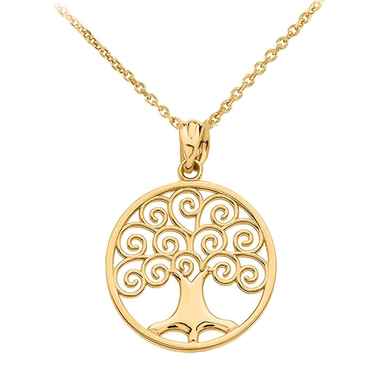 Polished 10k Gold Circle Tree of Life Openwork Pendant Necklace