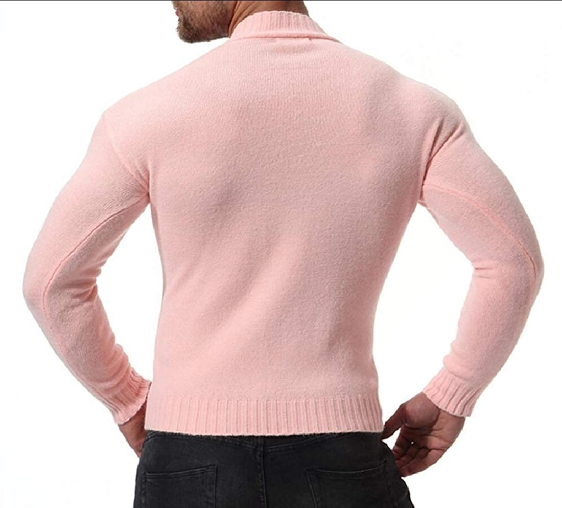 Smeiling Mens Knitwear Knitting Solid Color Stand Collar Slim Fit Leisure Pullover Sweaters