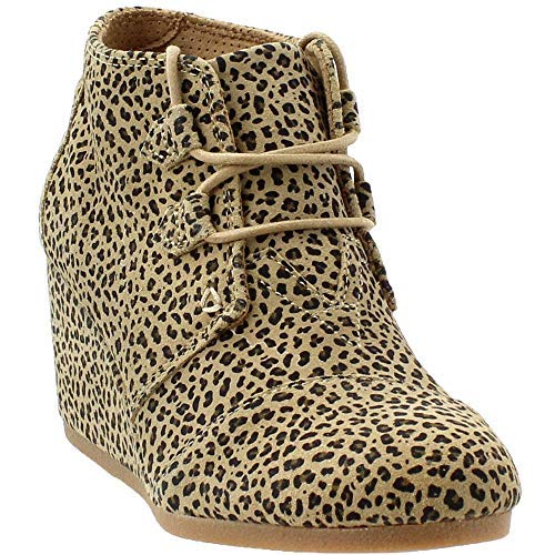 (TOMS Womens Kala Fabric Closed Toe Ankle Fashion Boots, Cheetah Suede, Size 8.0)