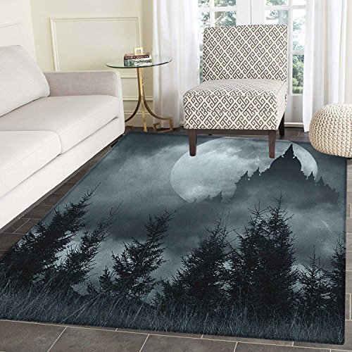 Halloween Rugs for Bedroom Magic Castle Silhouette over Full Moon Night Fantasy Landscape Scary Forest Circle Rugs for Living Room 4'x6' Grey Pale Grey