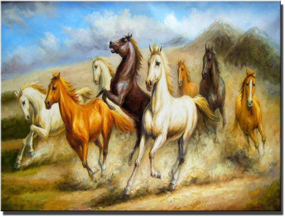 hllhpc (No Frame) Pinturas en Lienzo de Caballos impresionistas Impresión Digital sin Marco Impresión de Caballos de Carrera de Gran tamaño Impresiones y Carteles para Sala de Estar