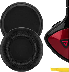 Geekria QuickFit Protein Leather Ear Pads for Monster DNA On-Ear Headphones, Replacement Ear Cushion/Ear Cups/Ear Cover, Headset Earpads Repair Parts (Black)