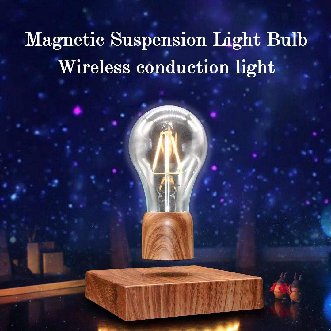 KFISI Magnetic Suspension LED Light Bulb Desk lamp, Night Light, 360 Degree Wireless Automatic Rotating Light - Home, Office Decoration, Creative Gifts