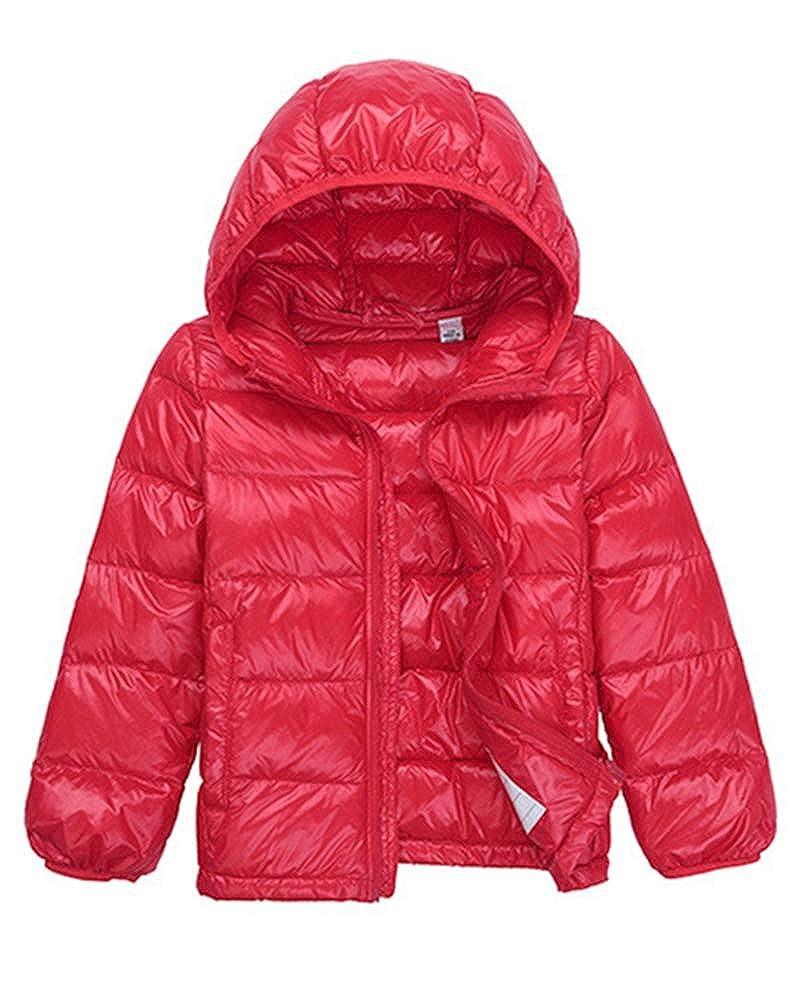 Enfant Garçon Fille Blouson Manteau Léger Doudoune à Capuche, Veste à Manches Longues Sport Ski Vêtement Veste à Manches Longues Sport Ski Vêtement