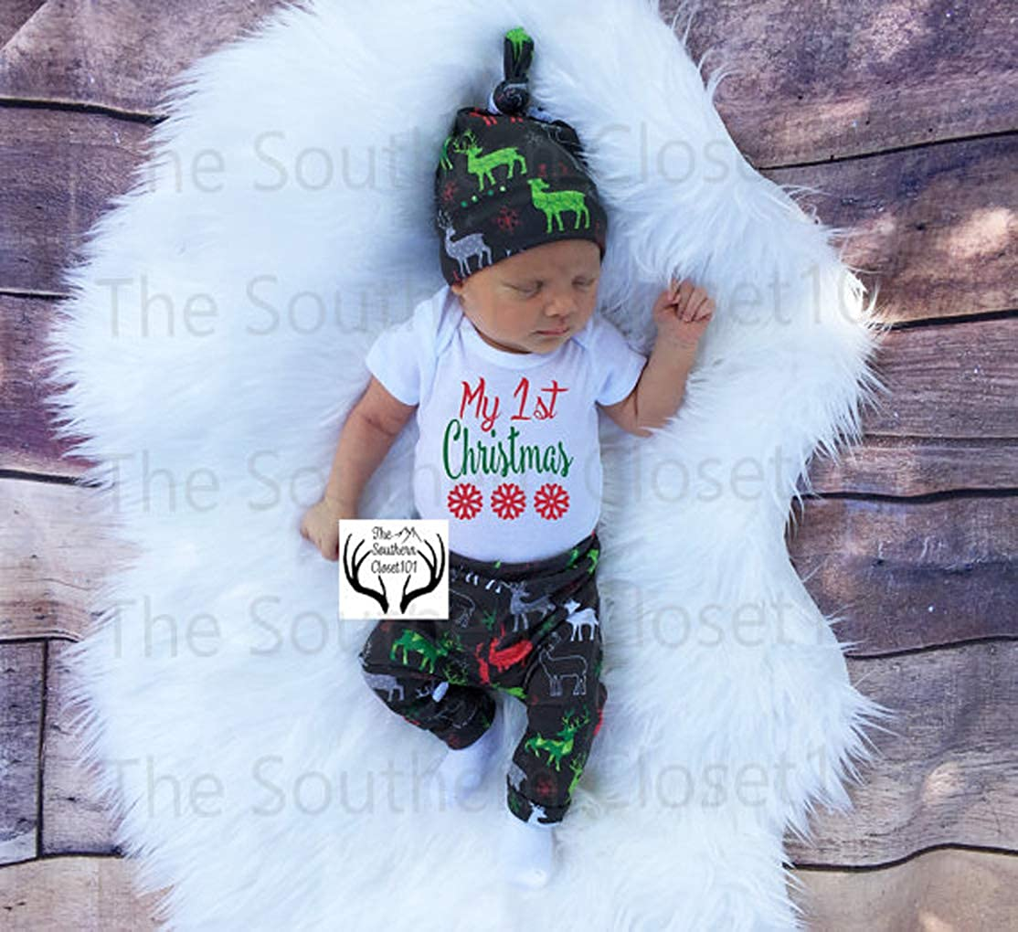 TAOHONG New Born Boy Girl My First Christmas Letter Bodysuit Baby Romper Dinosaur Pant Hat Jumpsuit Set