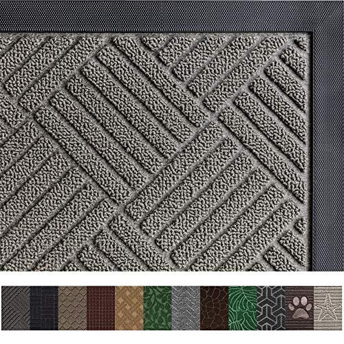 Gorilla Grip Original Durable Rubber Door Mat (35 x 23) Heavy Duty Doormat for Indoor Outdoor, Waterproof, Easy Clean, Low-Profile Rug Mats for Entry, Patio, High Traffic Areas (Gray Diamond)