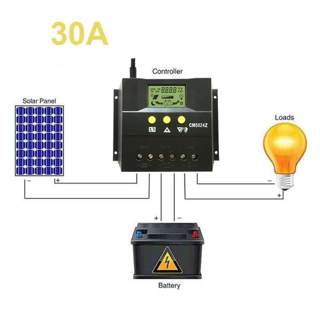 LiPing 30A/50A 12V/24V LCD Solar Panel Battery Regulator Charge Controller Auto PWM (30A)