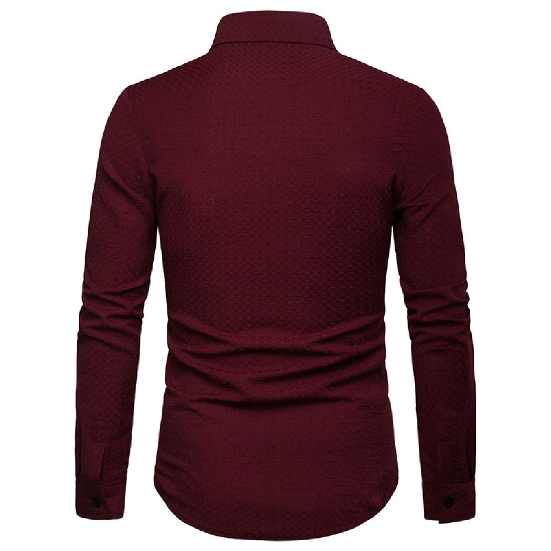 BAYY Mens Long-Sleeve Pure Lapel Relaxed-Fit Casual Shirts