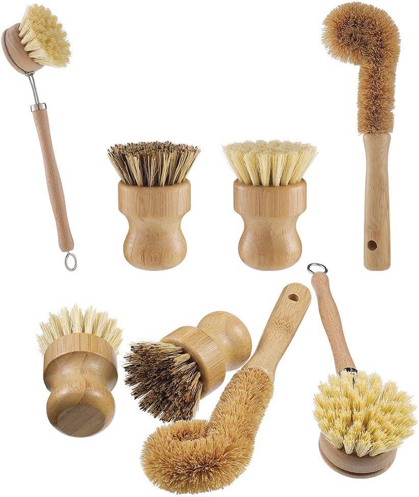 Ollas Platos Ziyero 10 Cabezales de Repuesto Mini Cepillo de Limpieza de bamb/ú Cepillo para Lavar Madera Cocina Natural de Fibra Se Puede Usar para Cepillar Platos Etc Fregaderos Amarillo Claro