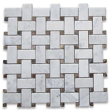 carrara white italian carrera marble basketweave mosaic tile emperador dark dots 1 x 2 polished