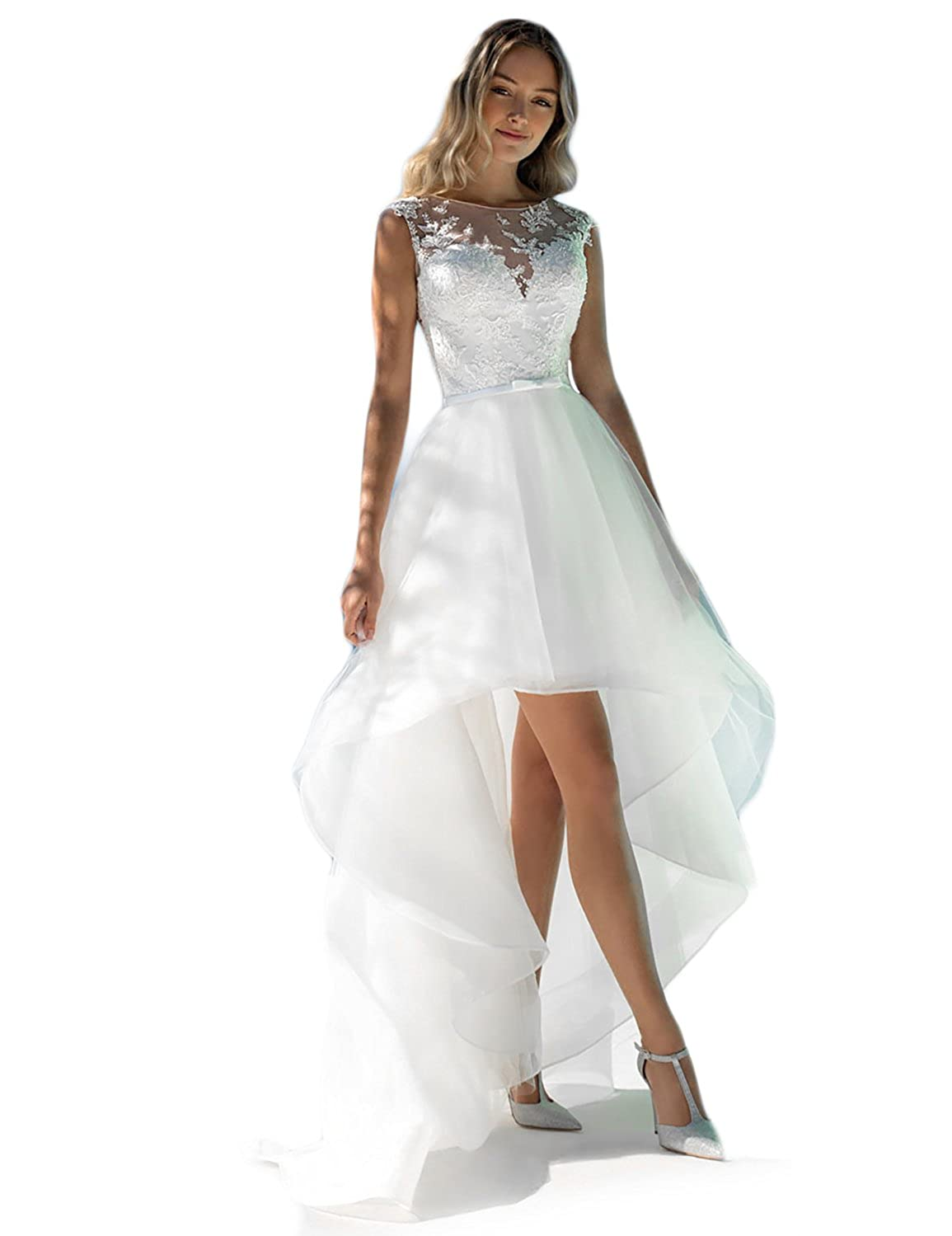 Asoiree Lace Beaded High Low Wedding Dresses See Through Back At