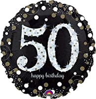 Carpeta Globo * Número 50 Happy Birthday + Helium Relleno + ...
