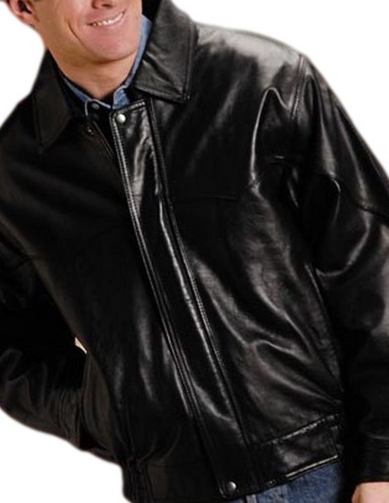 Roper Men's Lamb Nappa Bomber Jacket Big And Tall Black XXXX-Large