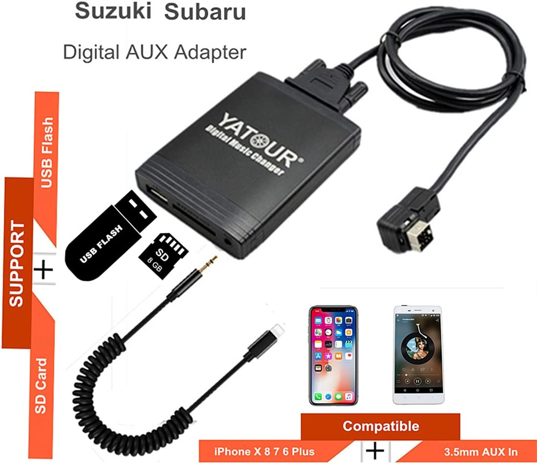 Suuonee Aux-in Audio Cable Adapter Car Audio AUX Input Cable Adapter 8pin Plug 3.5mm Jack for Suzuki Swift Vitra Jimny