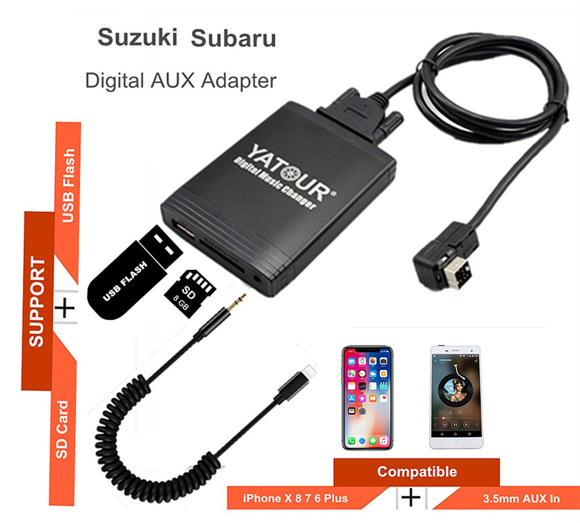 Suzuki Stereo AUX Adapter, Digital Car Audio Input Interface with SD Card, MP3 USB, 3.5mm AUX in, Music Player for Suzuki 1998-2001 (M06-SUZ1) by Hongruibo