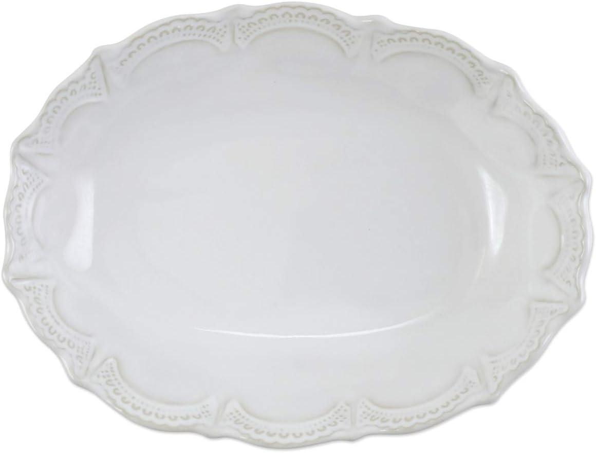 Vietri Incanto Stone White Lace Small Oval Bowl