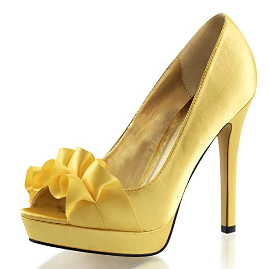 Amazon.com | Womens Yellow Satin High Heels Platform Peep Toe ...