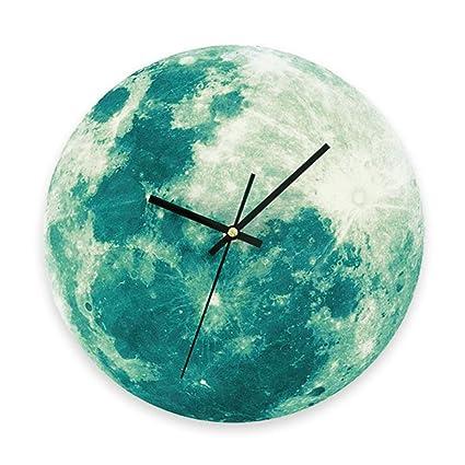 WRMING Reloj de Pared Luminoso Moderno Planeta Mudo Reloj de Pared Sala Cuarto de Los Niños