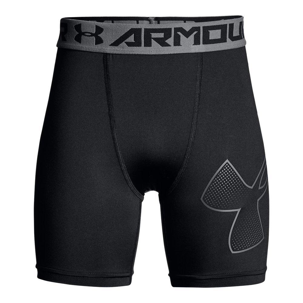 Under Armour Boys Heatgear Armour Mid Shorts, Black (003)/Graphite, Youth X-Small