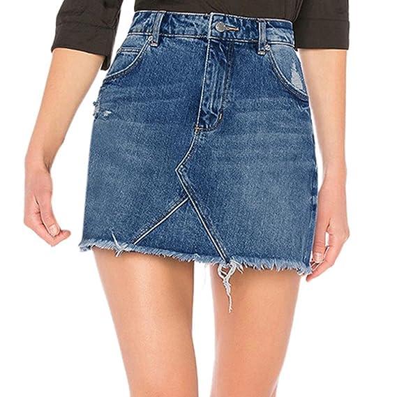 82fcadbf0 Faldas para mujer, Mujer Falda Básica de Vaqueros Rotos vendaje lápiz  bodycon cadera mini falda jeans Verano Sexy Bolsillos Azul Faldas De  Mezclilla ...