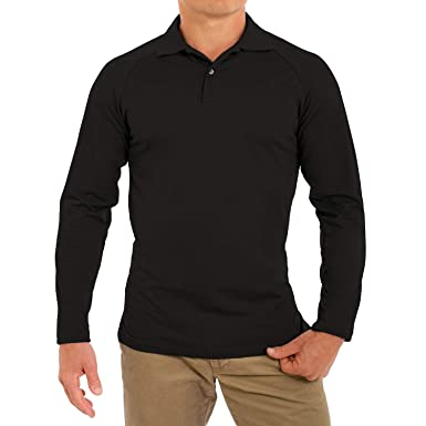 a0e89669 Comfortably Collared Men's Perfect Slim Fit Long Sleeve Soft Fitted Polo  Shirt, Small, Black